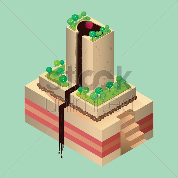 isometric cake vector graphic