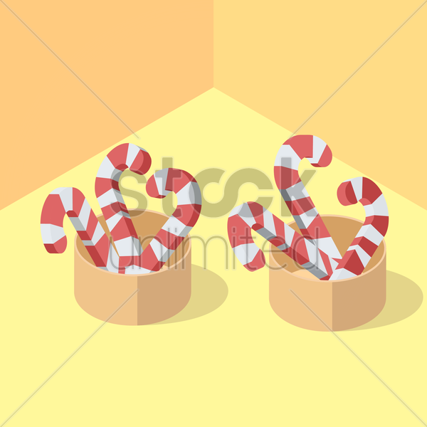 isometric candy canes vector graphic