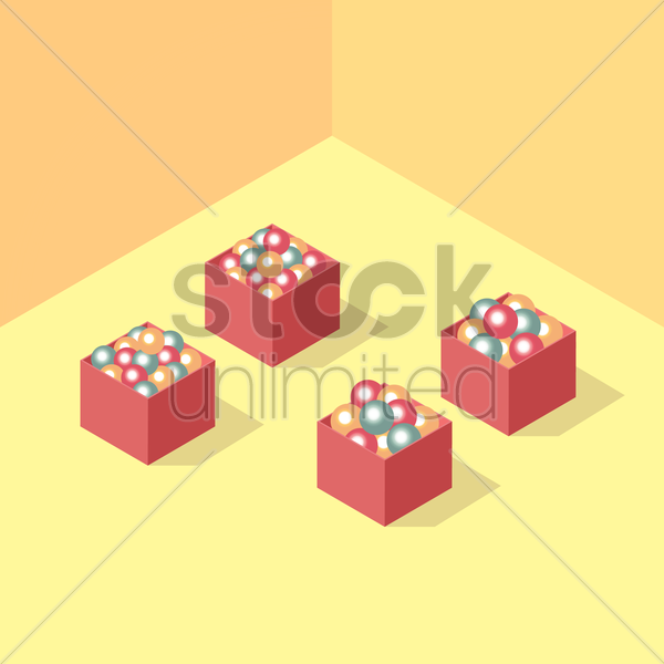 isometric christmas balls vector graphic