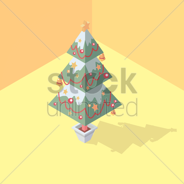 isometric christmas tree vector graphic