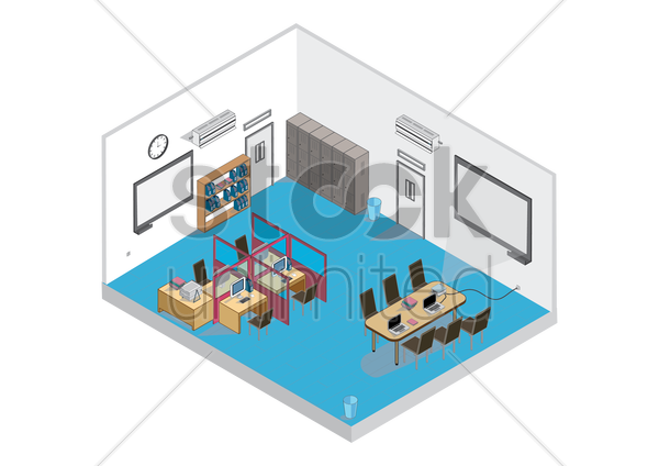 isometric computer lab vector graphic