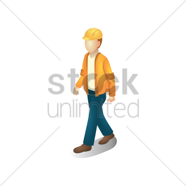 isometric construction worker walking vector graphic