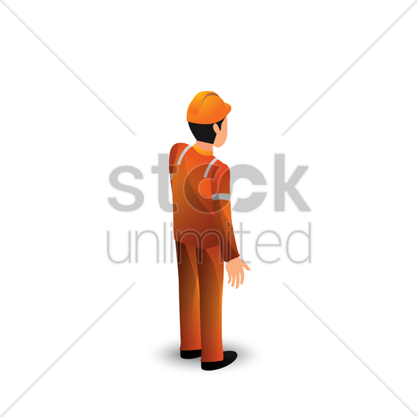isometric construction worker vector graphic