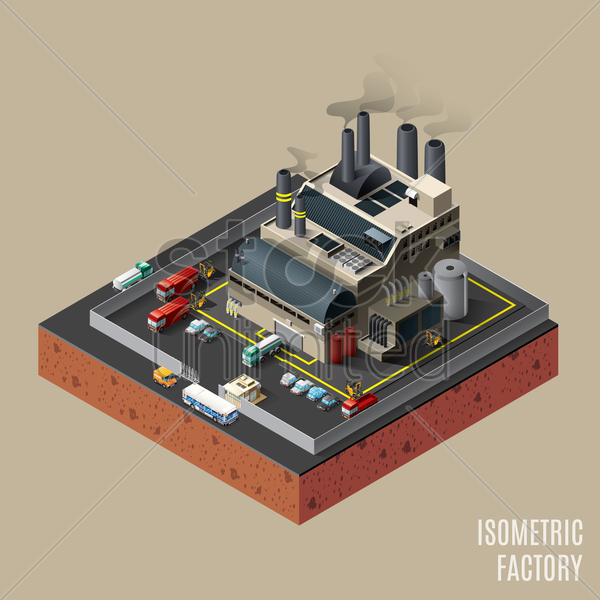 isometric factory vector graphic