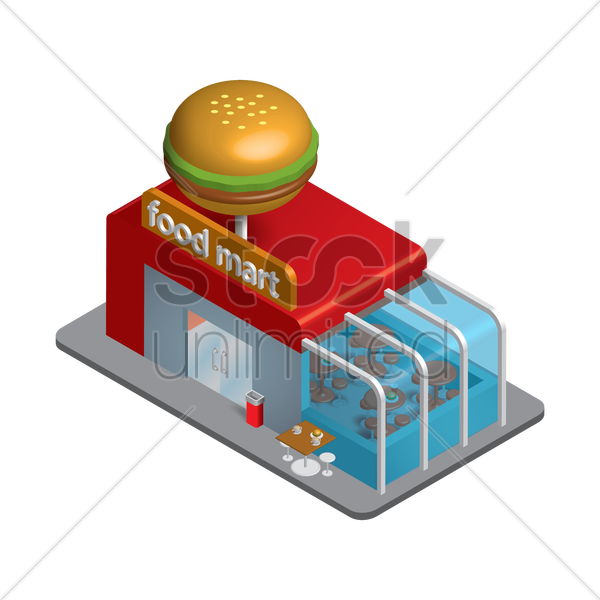 isometric food mart vector graphic