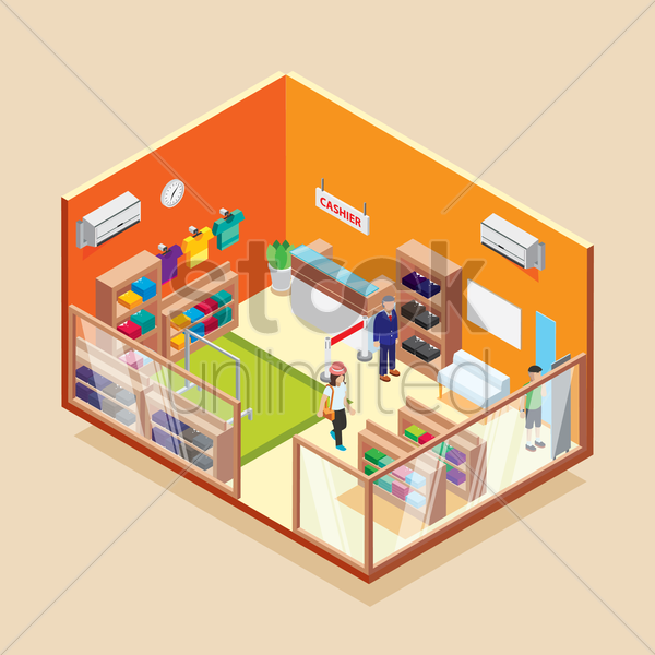 isometric garments store vector graphic