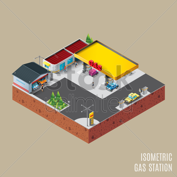 isometric gas station vector graphic
