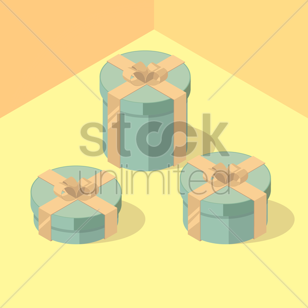 isometric gift boxes vector graphic