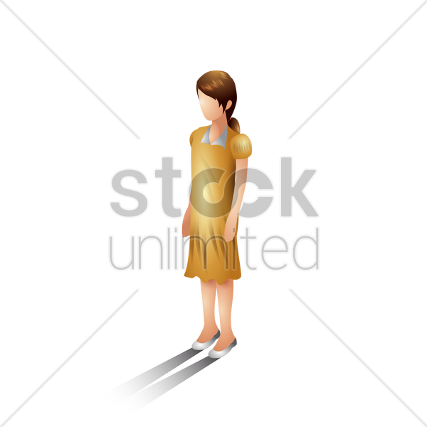 isometric girl vector graphic