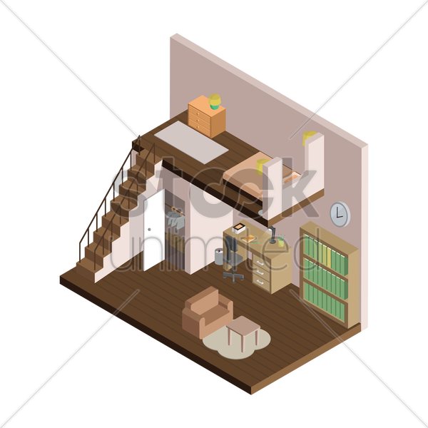isometric home interior vector graphic