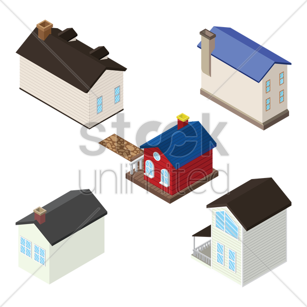 isometric homes and houses vector graphic