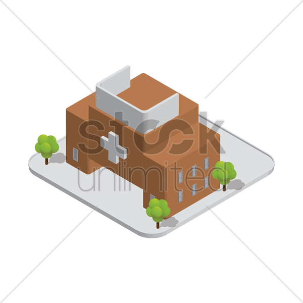 isometric hospital building vector graphic