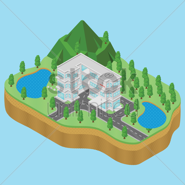 isometric hospital vector graphic