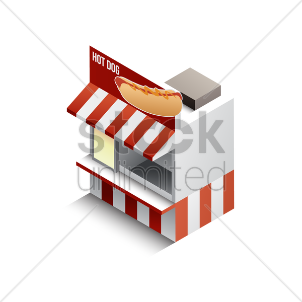 isometric hot dog store vector graphic