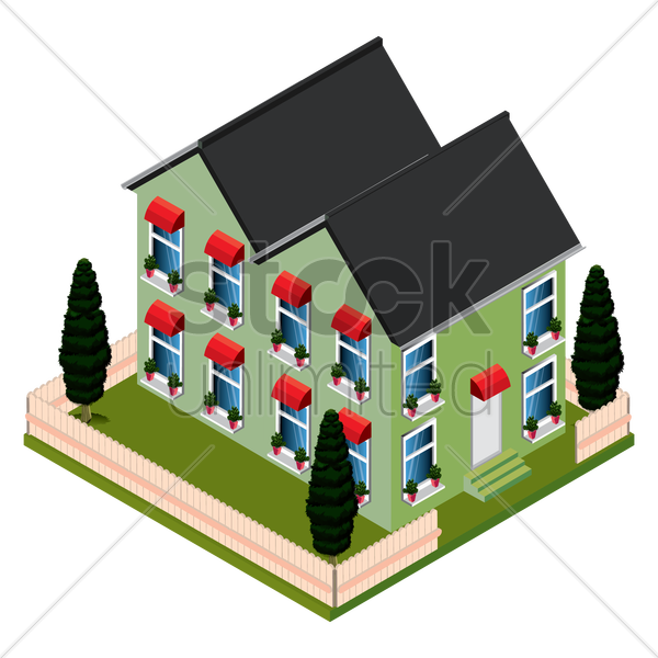 isometric house vector graphic