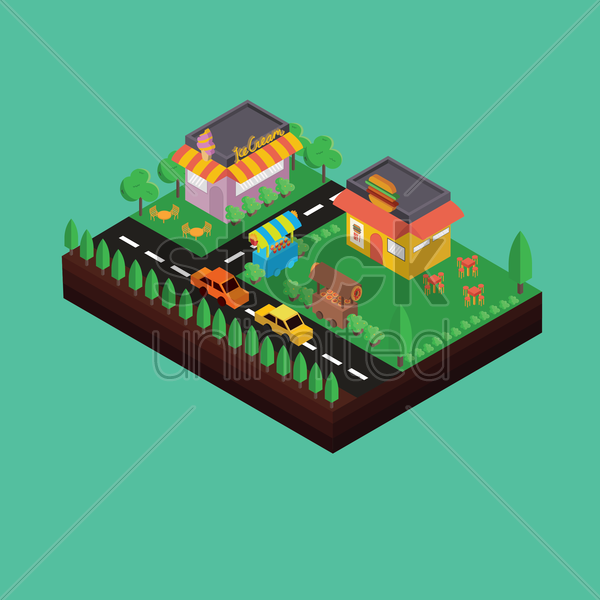 isometric ice cream parlour and fast food restaurant vector graphic