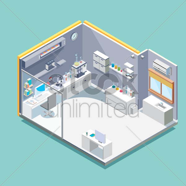 isometric laboratory vector graphic