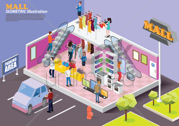 isometric mall vector graphic