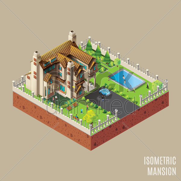 isometric mansion vector graphic