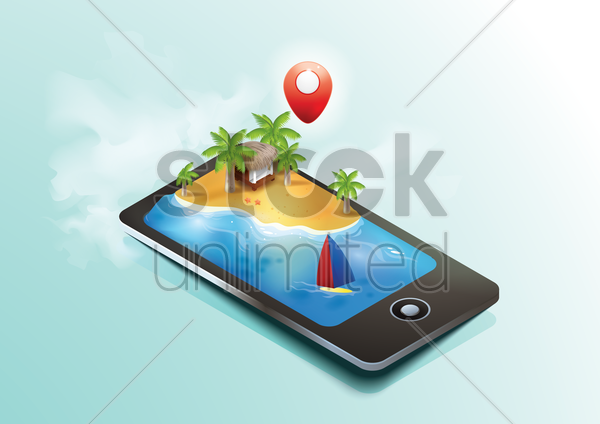 isometric mobile with beach vector graphic