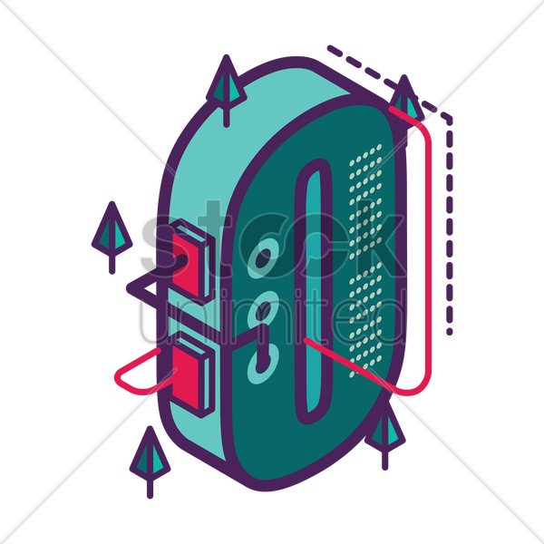 isometric number 0 vector graphic