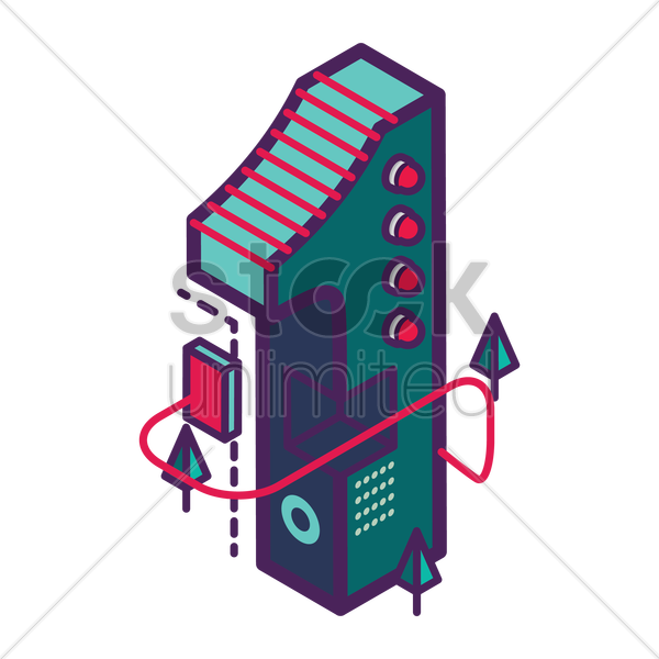 isometric number 1 vector graphic