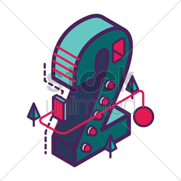 isometric number 2 vector graphic