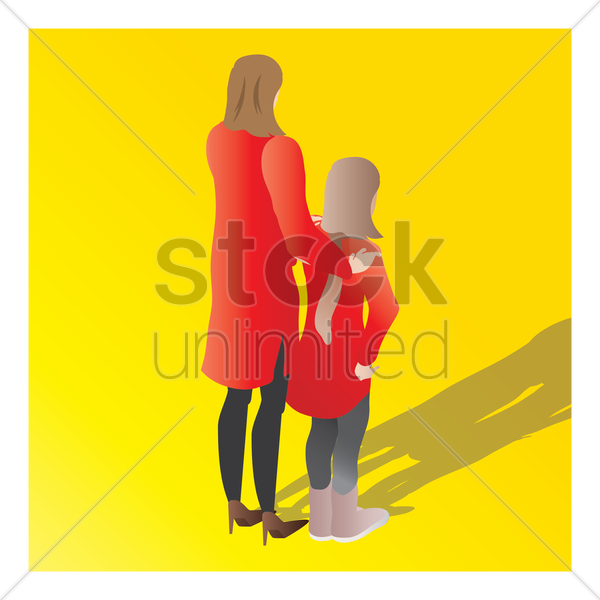 isometric of a mother and daughter vector graphic