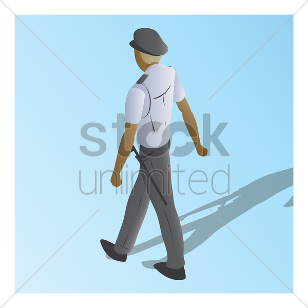 isometric of a security guard vector graphic