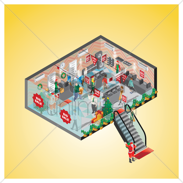 isometric of a shopping mall vector graphic