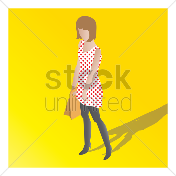 isometric of a woman vector graphic