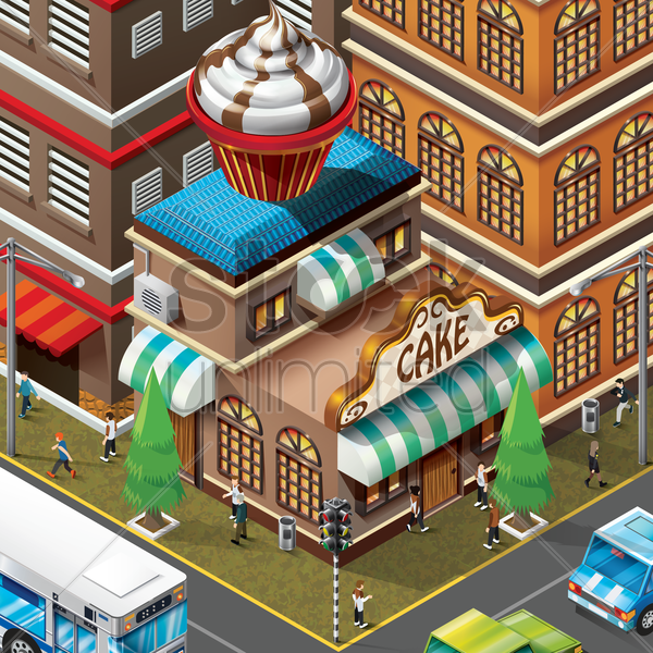 isometric of bakery shop building vector graphic