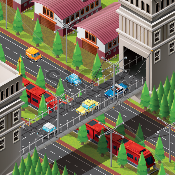 isometric of city life vector graphic
