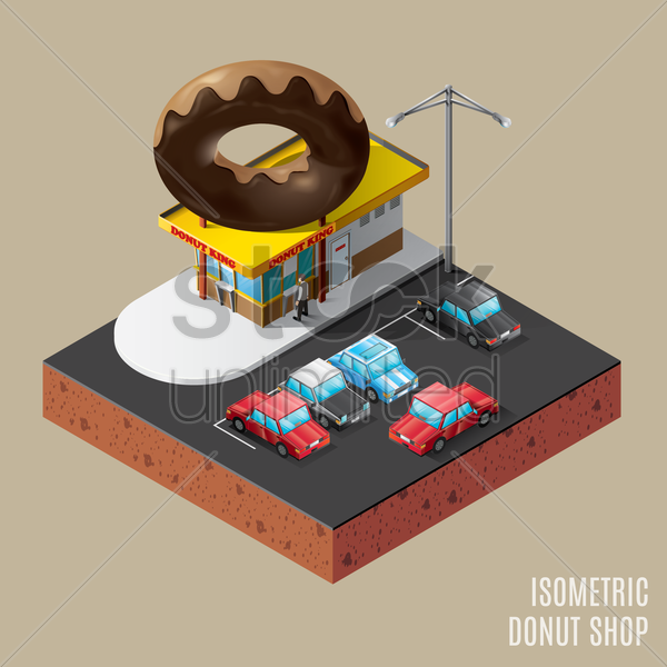 isometric of donut shop vector graphic