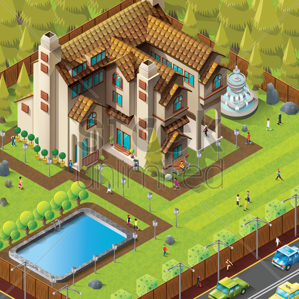 isometric of mansion building vector graphic