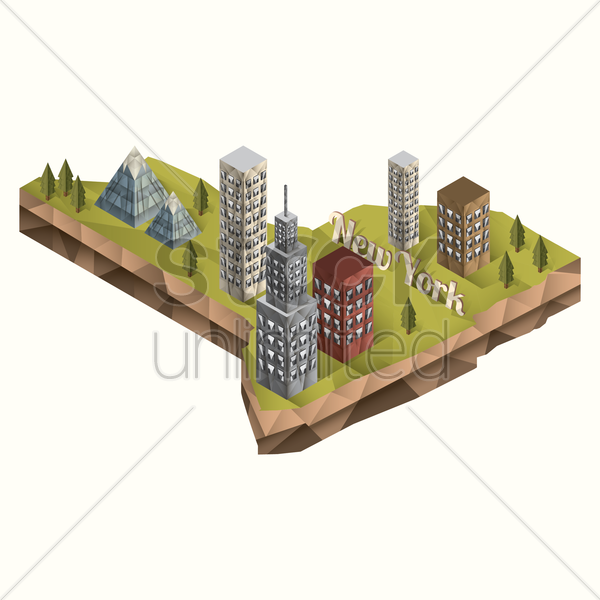 isometric of new york state vector graphic