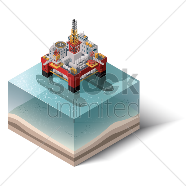 isometric of oil platform vector graphic