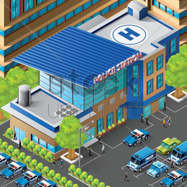 isometric of police station building vector graphic