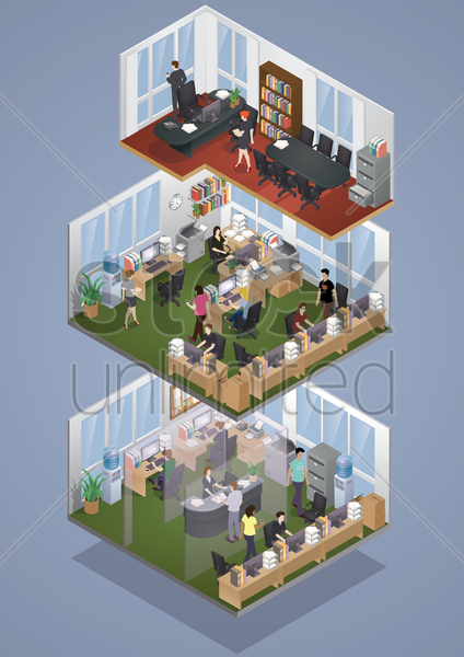 isometric office layout vector graphic
