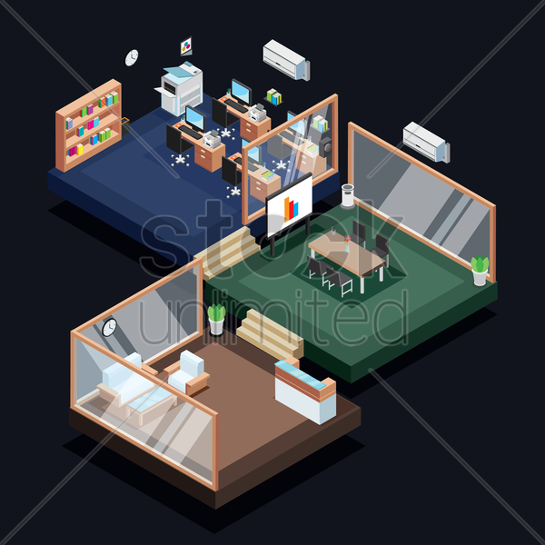isometric office vector graphic