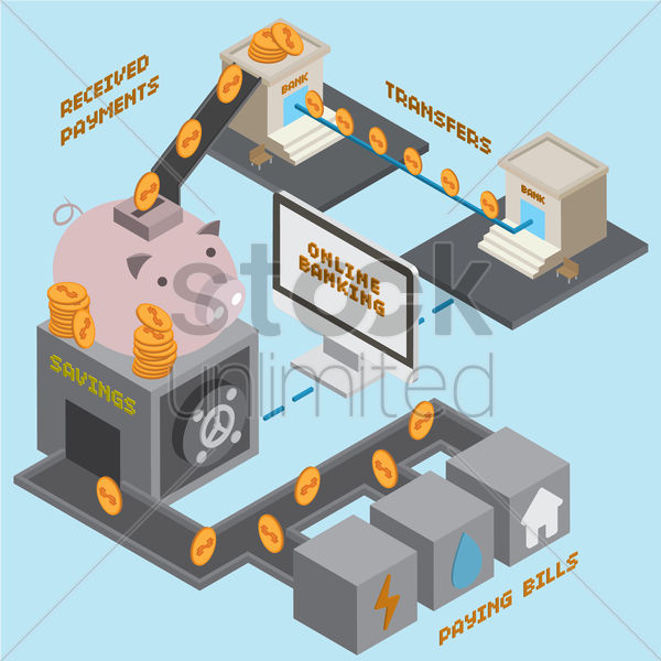 isometric online banking vector graphic