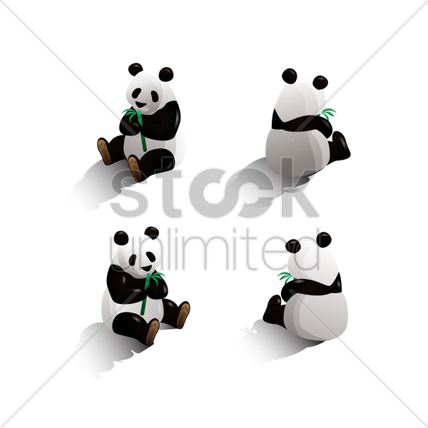 isometric panda vector graphic