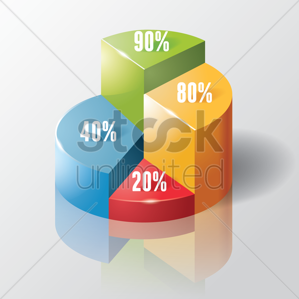 isometric pie graph vector graphic