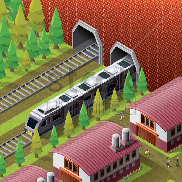 isometric railway station vector graphic