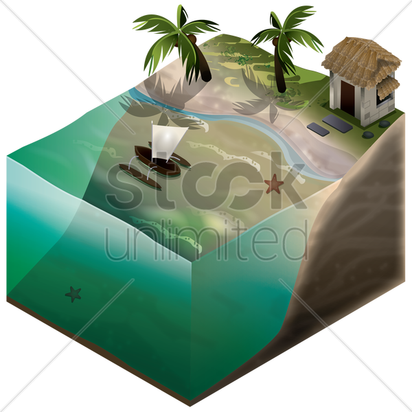 isometric representation of beach and water vector graphic