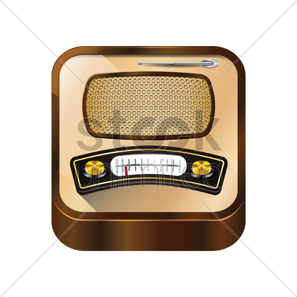 isometric retro radio vector graphic