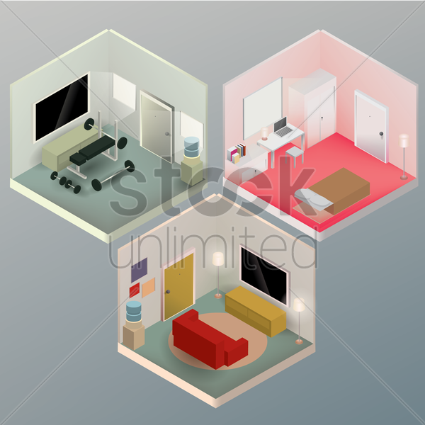 isometric rooms vector graphic