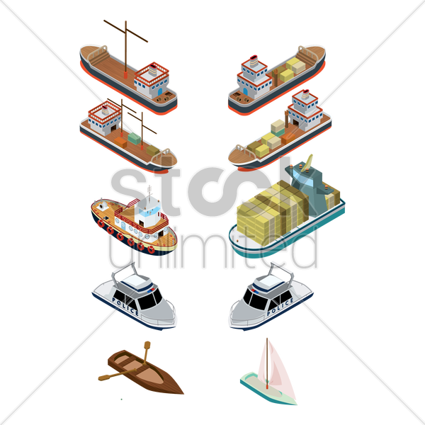 isometric ships vector graphic