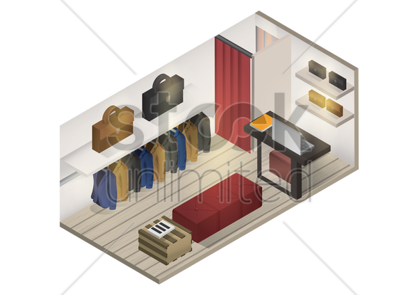 isometric shop interior vector graphic
