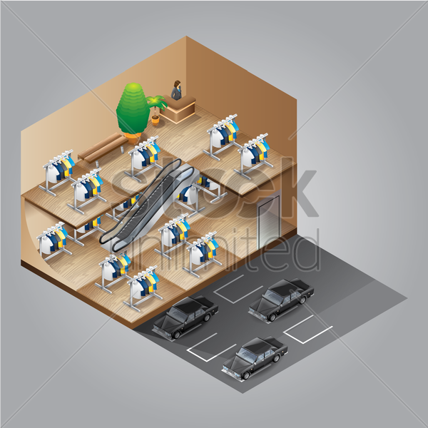 isometric shopping mall vector graphic